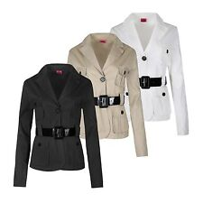 WOMENS LADIES TWO BUTTONED BLAZER BELTED MILITARY LONG SLEEVE JACKET COAT 8-14