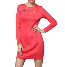 Fashion Women's Round Neck Hollow Out Long Sleeve Solid Color OL Zipper Dress