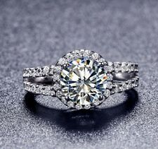 2.0 Ct Round Cut NSCD Diamond Engagement Wedding Ring Sterling 925 Silver Plated