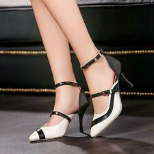 Women's Stiletto Multi Buckle Patent Leather Ankle Strap Heels Pointy Toe Shoes