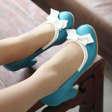 Women's Bowknot Kitten Block High Heels Round Toe Pumps Date Party Sweet Shoes