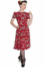 Hell Bunny Red Birdy Dress 40s 50s Tea Party Pin Up WW2 Vintage Style XS UK 8