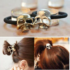 Women Punk Skull Head Skeleton PonyTail Holder Organiser Elastic Rope Hair Band
