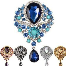 FASHION WOMEN WEDDING BRIDAL BOUQUET TEARDROP CRYSTAL RHINESTONE BROOCH PIN GIFT