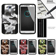 For Motorola Droid Turbo 2| Hybrid Hard Bumper Stand Case Colored Camouflage