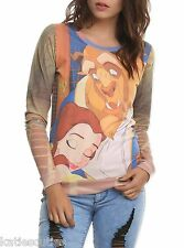 Disney Beauty and the Beast Belle Hug Pullover Juniors Top Crew Sweatshirt
