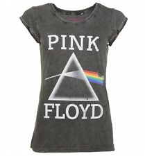 Women's Charcoal Burnout Pink Floyd Dark Side Of The Moon T-Shirt With Rolled Sl