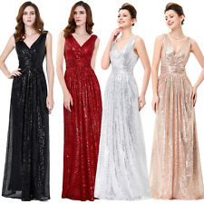 Sequined Womens Bridesmaids Wedding Dress LONG Evening Prom Party Pageant Formal