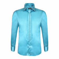 Robelli Men's Diamante Collar Cuff Satin Dress Shirt & Matching Tie - Turquoise