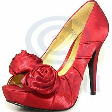 Women Fashion Shoes Red Satin Open Toe Pump Platform Party Evening High Heels