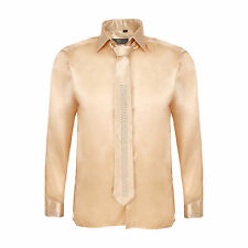 Robelli Men's Diamante Collar Cuff Satin Shirt & Matching Tie - Champagne Gold