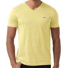 Lacoste Mens Short Sleeve Pima Cotton Jersey V-neck T-shirt Tee In Beurre Butter