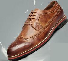 US7-11 New Leather Brogue Wingtip Lace Up Casual Oxfords Shoes mens shoes