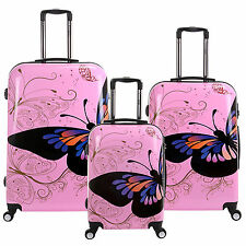 Pink ButterflyTravel PC Luggage Spinner 4 Wheel Trolley Case Rolling Suitcase