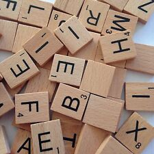 5 X 100 Wooden Alphabet Scrabble Tiles Black Letters & Numbers Crafts Wood GS