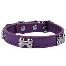 Purple Leather Small Pet Dog Collars Bone Shaped Collar Charms 5Color Size S M L
