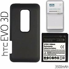 HTC EVO 3D 4G Extended Battery And Back Cover + Charger  - 3500mAh