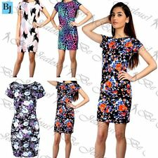 Womens Ladies Cap Sleeve Floral Round Neck Stretchy Fitted Bodycon Midi Dress