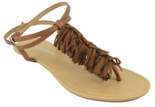 City Classified Shoe Women Flat Fringe Sandals Tan Brown Ankle Strap Thong ORION