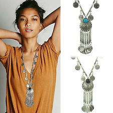 Hot Vintage Coin Long Pendant Necklace Chain Gypsy Tribal Ethnic Fashion Jewelry