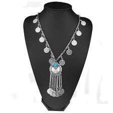 Trendy Girl Vintage Coin Long Pendant Necklace Chain Gypsy Tribal Ethnic Jewelry