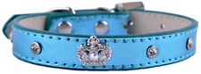 Rhinestone Dog Collar Crown Shaped Leather Studded Dog Necklace Small Pets Teddy