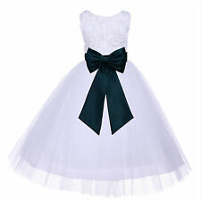 WHITE WEDDING FORMAL FLOWER GIRL DRESS 3-D FLORAL DESIGN PAGEANT 2 3T 4 5 6 8 10