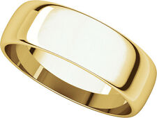 14K Yell. Gold, Light Half Round Wedding Band 6MM sz 4-15
