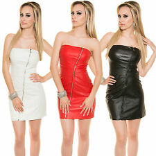 Ladies Tube Mini Dress Bandeau Leather Look S 34 36 Party Club Wedding sexy