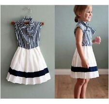 New Baby Girls Striped Dress White Blue Short Sleeve Bowtie Children Dress