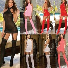 Ladies Women Sexy Lingerie Babydoll Lace Dress Nightwear Stockings G string LM