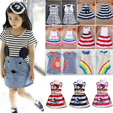 Kids Girls Toddler Baby Princess Dress Summer Casual Striped Sundress Clothes