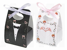 BRIDE & GROOM WITH RING PATTERN WEDDING TABLE FAVOUR BOXES SWEETS CANDY GIFT BOX