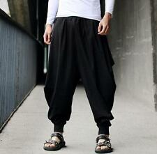 Mens Harem Japanese Loose Baggy Pants Casual Style Cotton Linen Boho Trousers
