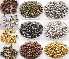 Metal Round Ball Spacer Bead Gold Silver Bronze Copper Black 2.4/3.2/4/5/6/8mm