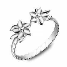 925 Sterling Silver Open Cuff Size Adjustable Flower Ring, Size 7-9