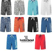 Twisted Soul Mens Shorts Various Colours Summer Floral Surf Board Graphic Swim