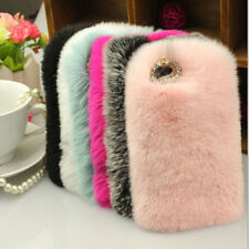 1x Fashion Soft Ultra Luxury REX Rabbit Fluffy Fur Skin Cover For Smartphones