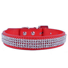 Red Leather Dog Collar Diamonds Necklace Small Pets Chihuahua Collar Supplies