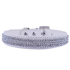 White Leather Dog Collar Rhinestones Collar Necklace For Small Pets Chihuahua