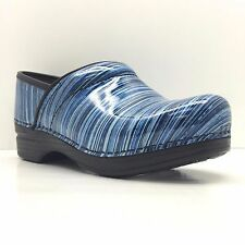 Dansko Women's Pro XP Clog Blue Striped Patent Leather 3912-710202
