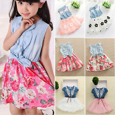 Toddler Baby Girls XMAS Party Denim Tulle Vest Skirt Tutu Gown Formal Dress 1-8Y