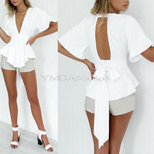Lady Solid Sexy Deep V-Neck Backless Short Sleeve Tops Casual Party Clubwear