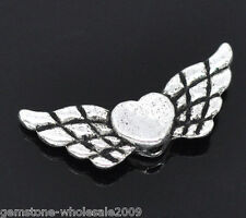 Wholesale Lots Silver Tone Heart& Wing Spacer Beads 22x9mm