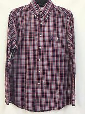 Men's George Strait Wrangler Button-up Shirt-Red/White/Blue Plaid, Style MGS120M