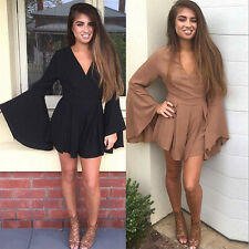 Long Flare Sleeve Women Sexy Tunic Jumpsuit High Waist Rompers Playsuits Party G
