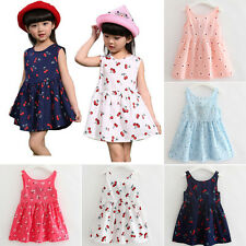 Summer Baby Girls Princess Floral Skirt Party Sleeveless Kids One-Piece Dresses