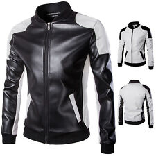 Mens Pu Leather Baseball Coat Varsity Jacket Slim Splicing Design Outerwear Tops