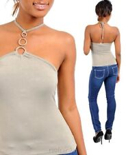 Brand New Junior Trendy Stretch Form Fitting O-Ring Halter Top Blouse