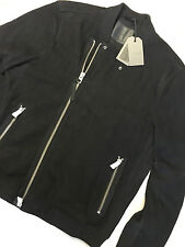 """ALL SAINTS WASHED BLACK SUEDE LEATHER """"HERNE"""" BOMBER JACKET - XXL NEW TAGS £358"""